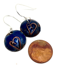 Navy Blue Valentine Earrings with Cloisonne Heart
