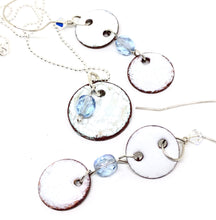 Icy White Penny Necklace with added Swarovski Crystal