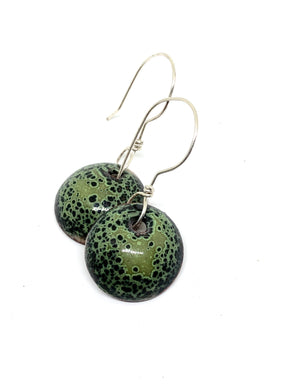 Mossy Crackle with Black Penny Earrings
