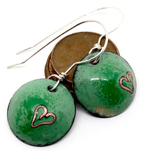 Verde Valentine Earrings with Cloisonne Heart