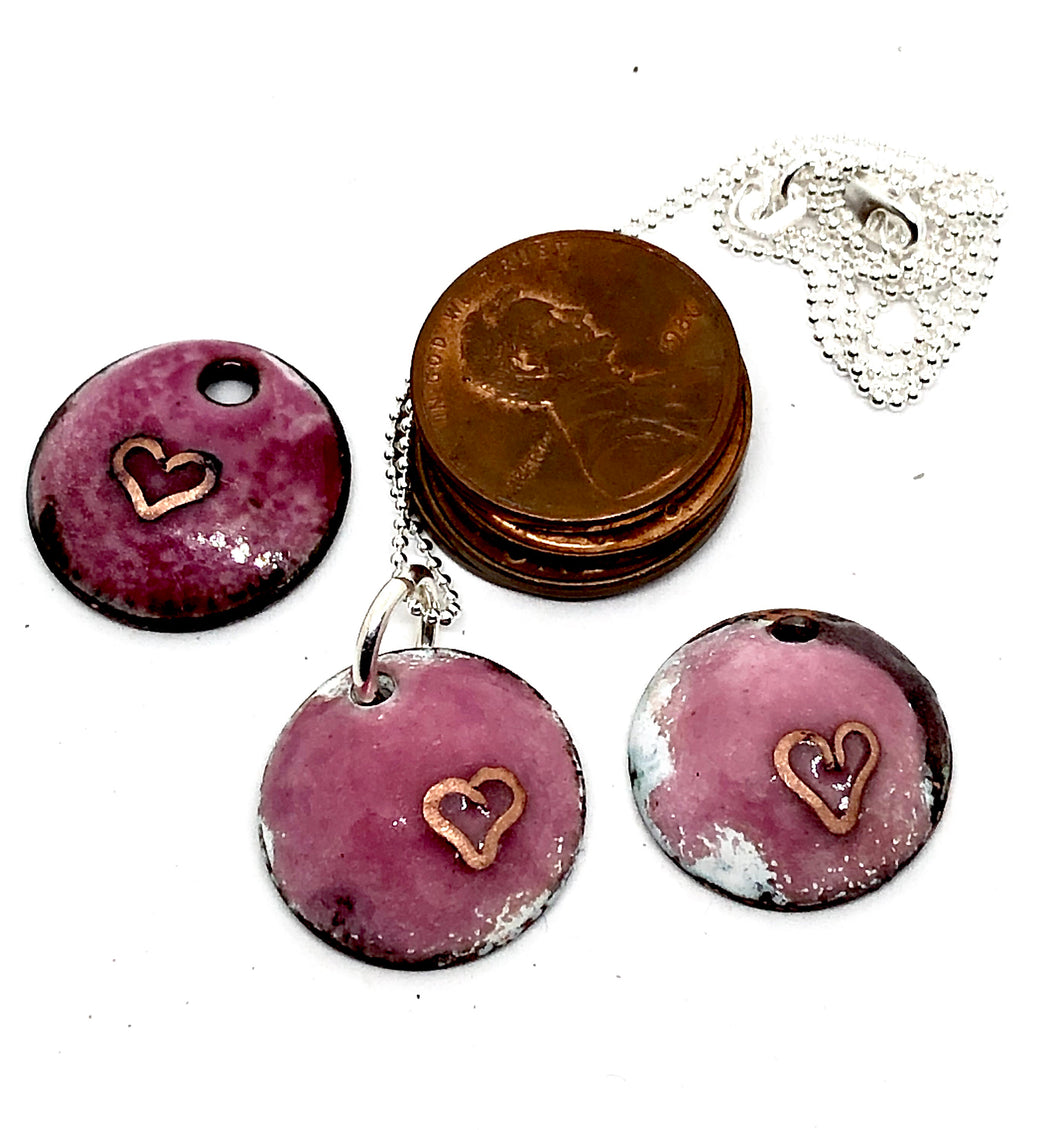 Raspberry Necklace with Cloisonne Heart