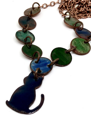 Copper Cat with Blue and Green Enamel Necklace on Premium Copper Chain
