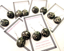 Black Crackle Enamel Penny Earrings
