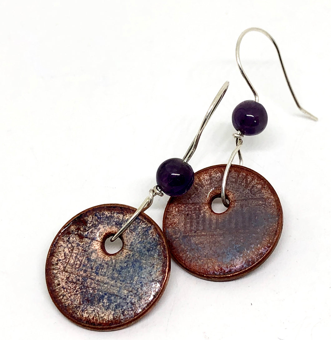 Frosted Purple Penny Earrings