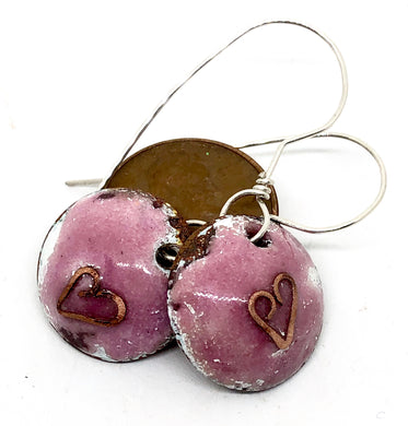 Raspberry Earrings with Cloisonne Heart