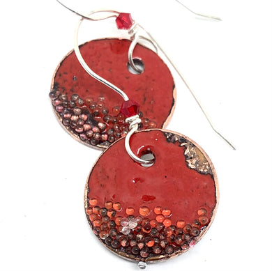 Red Penny Earrings with Microbeads