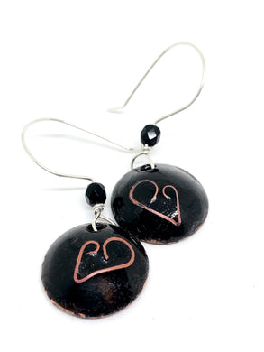 Black Cloisonné Heart Penny Earrings with black crystal