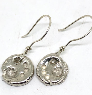 Silver Metal Clay Earrings with Quartz Crystals
