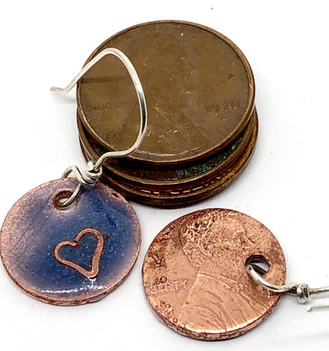 Purple Penny Punch Earrings with Cloisonne Heart