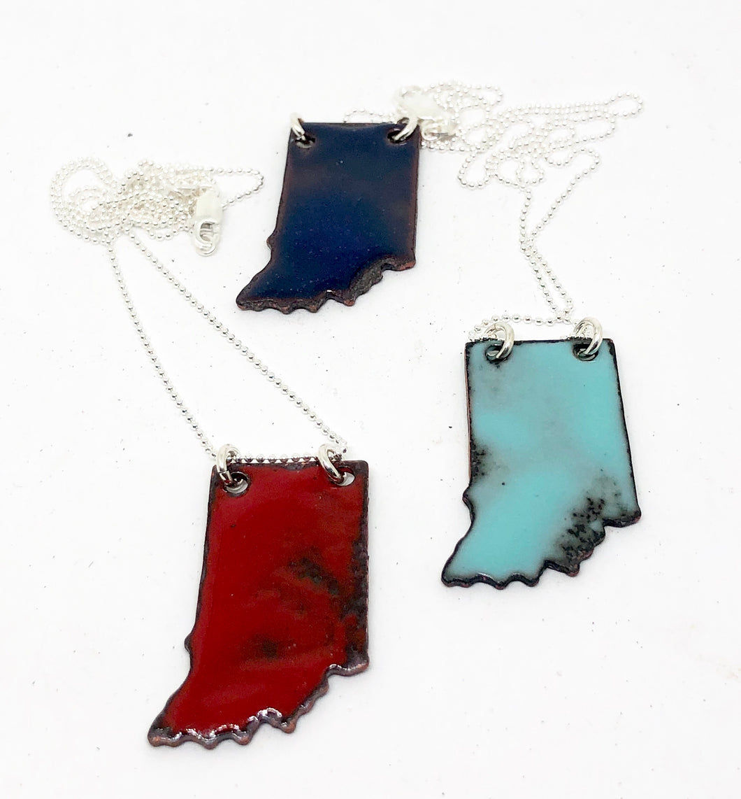 Indiana State Necklace- Vitreous Enamel on Copper with a Sterling Silver Necklace