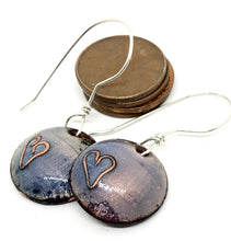 Purple Earrings with Cloisonne Heart
