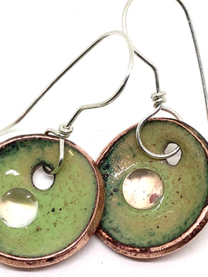 Holiday Special Collection-  Green with Microbead Penny Earrings