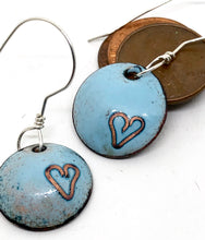 Blue Valentine Earrings with Cloisonne Heart