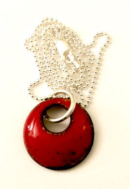 Classic Red Penny Enamel Necklace