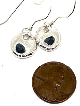 Silver Metal Clay Earrings with Saphire