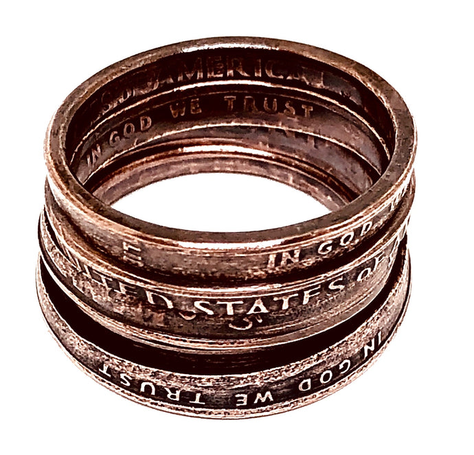 Stackable Penny Ring with Patina