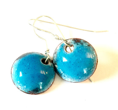 Birthstone Blue Topaz Penny Earrings -December