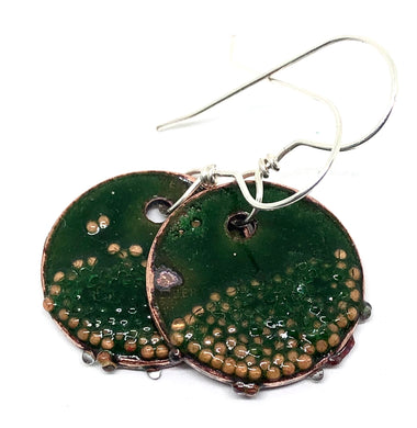 Emerald Green Penny Earrings with Microbeads
