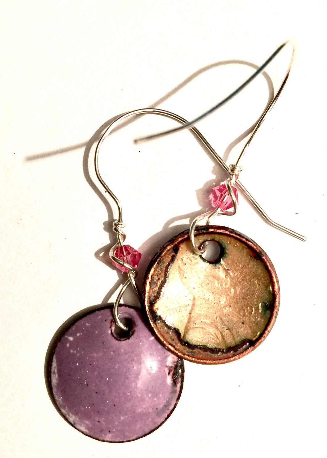 Lilac Enamel Penny Earrings with Crystal
