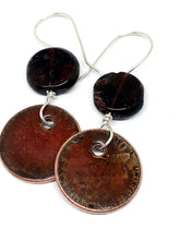 Falling Leaves Penny Earrings with Garnet Accent
