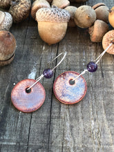 Frosted Purple with Amethyst accents Penny Earrings