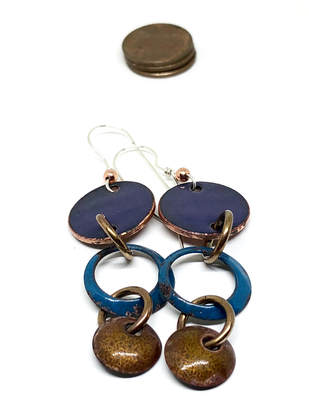 Ironweed Blue  Penny Earrings