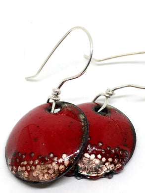 Holiday Special Collection-Red Microbead Penny Earrings