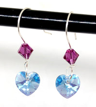 Swarovski Crystal Heart Earrings with Pink Crystal