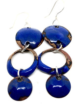 Blue Triple Dangle Penny Earring