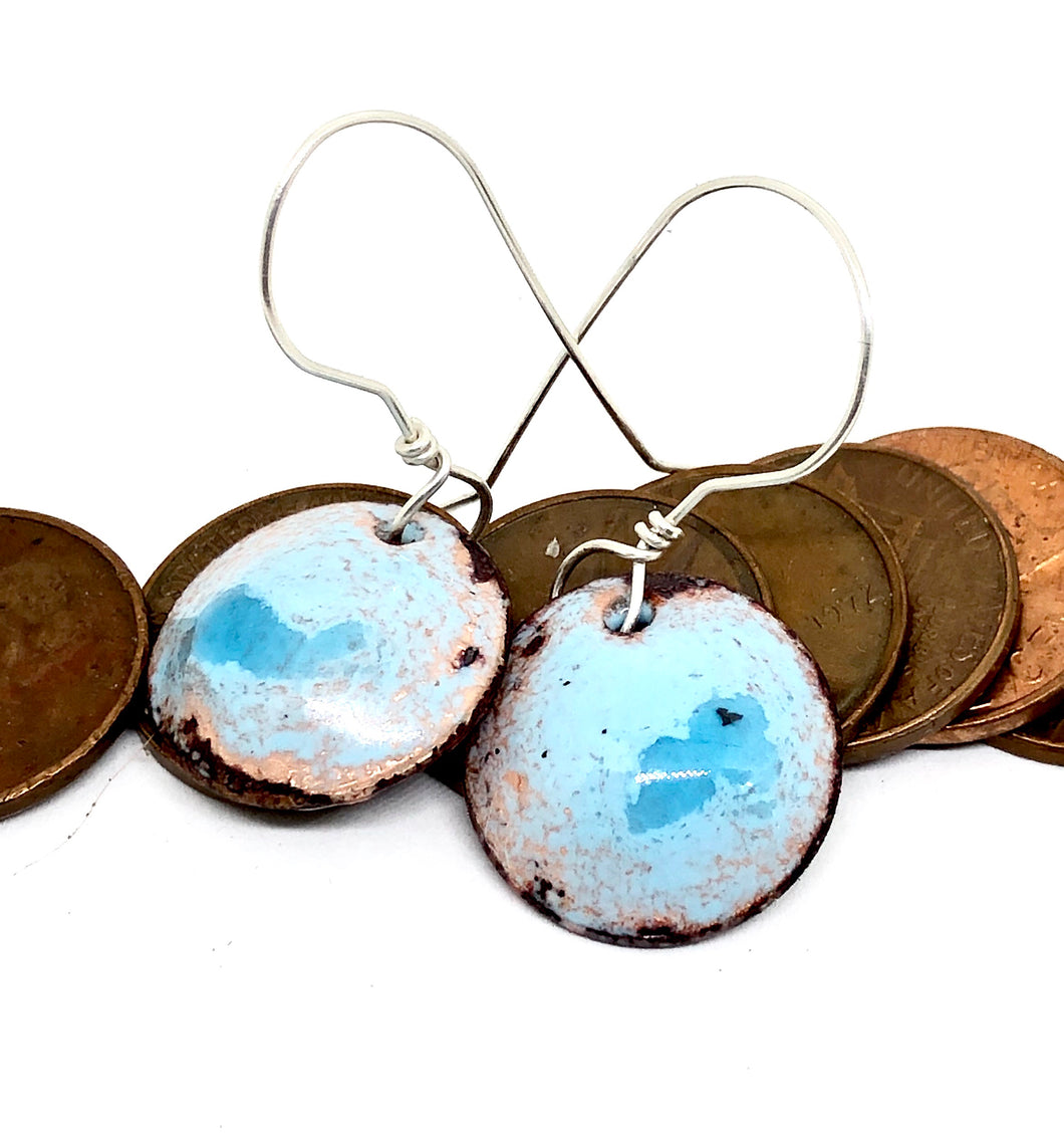 Summer Sky Copper Penny Earrings Single-Dangled