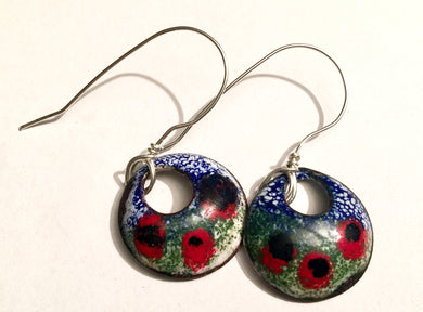 Monet's Poppies Enamel Penny Earrings - Spring Collection