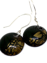 Black with Golden Crackle Penny Earrings
