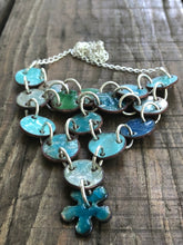 The Blues Penny Enamel Necklace on Sterling Silver Chain
