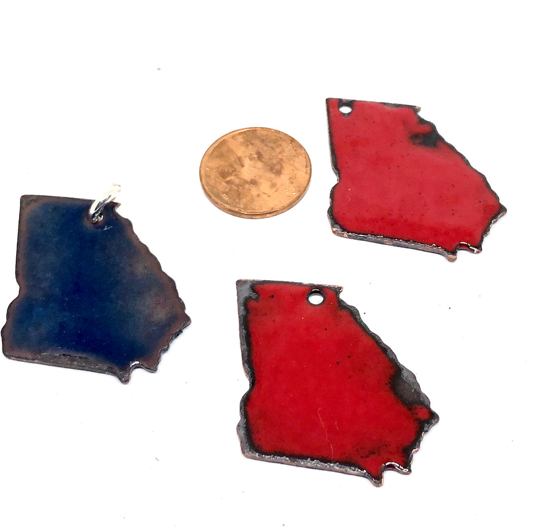 State Charm Georgia- Vitreous Enamel on Copper with a Sterling Jump Ring