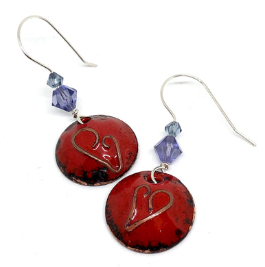 Classic Red Cloisonné Heart Penny Earrings with lilac crystals