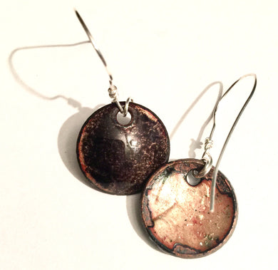 Sparkling Black Enamel Penny Earrings