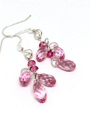 Swarovski Crystal Pink Dangle Earrings