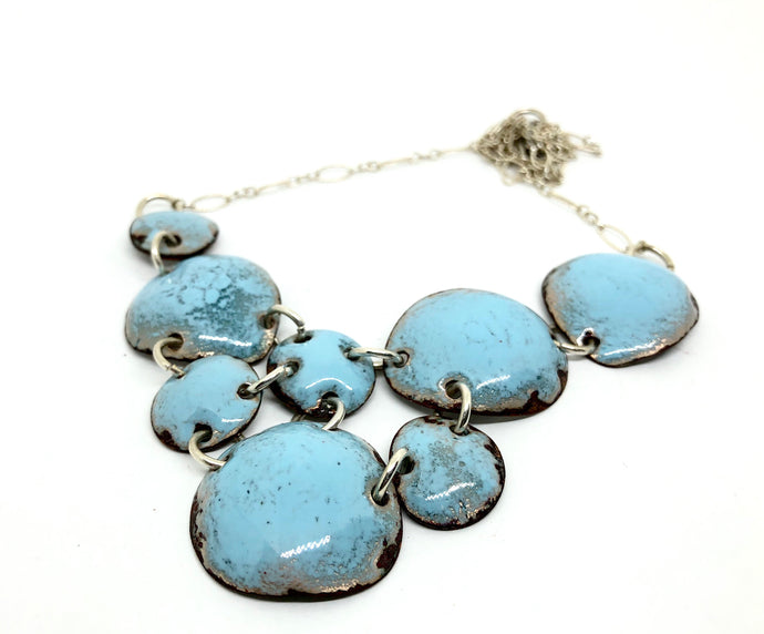 Smokey Summer Sky Blue Copper Penny Necklace