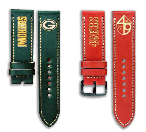 Custom Sports Team Apple Watch Band - Handmade Leather Strap 44mm 42mm 38mm