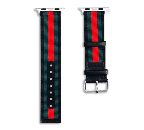 Gucci Style Apple Watch Strap Band Leather Back with Metal Buckle for iWatch Apple Watch