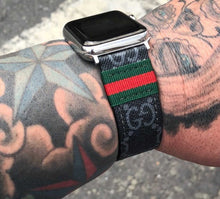 Gucci Monogram Style Black and Grey Apple Watch Band Strap
