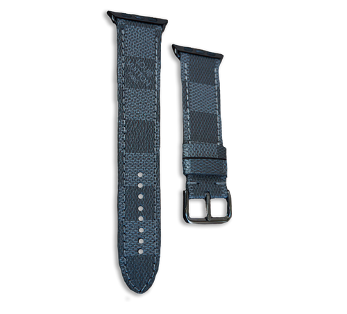 Louis Vuitton LV Damier Style Designer Apple Watch Band in Grey and Black - Handmade Leather Strap 44mm 42mm 38mm
