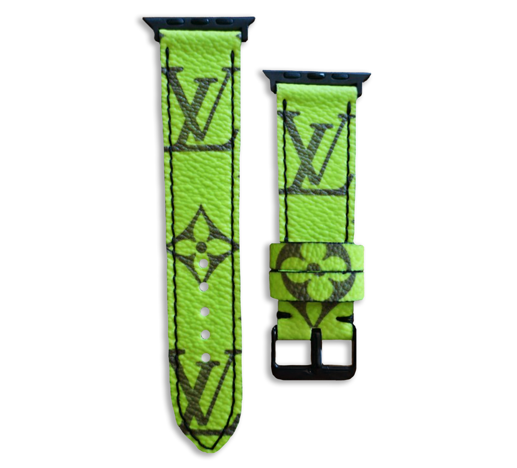 Louis Vuitton LV Monogram Style Designer Apple Watch Band in Highlighter Yellow and Black - Handmade Leather Strap 44mm 42mm 38mm