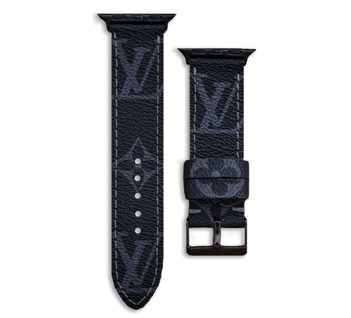 Louis Vuitton LV Monogram Style Designer Apple Watch Band in Black and Grey - Handmade Leather Strap 44mm 42mm 38mm