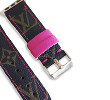 Louis Vuitton LV Monogram Style Designer Apple Watch Band / Straps Brown and Pink