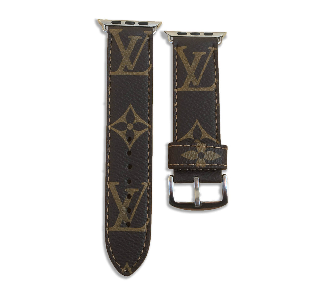 Louis Vuitton LV Monogram Style Brown Classic Apple Watch Band Strap