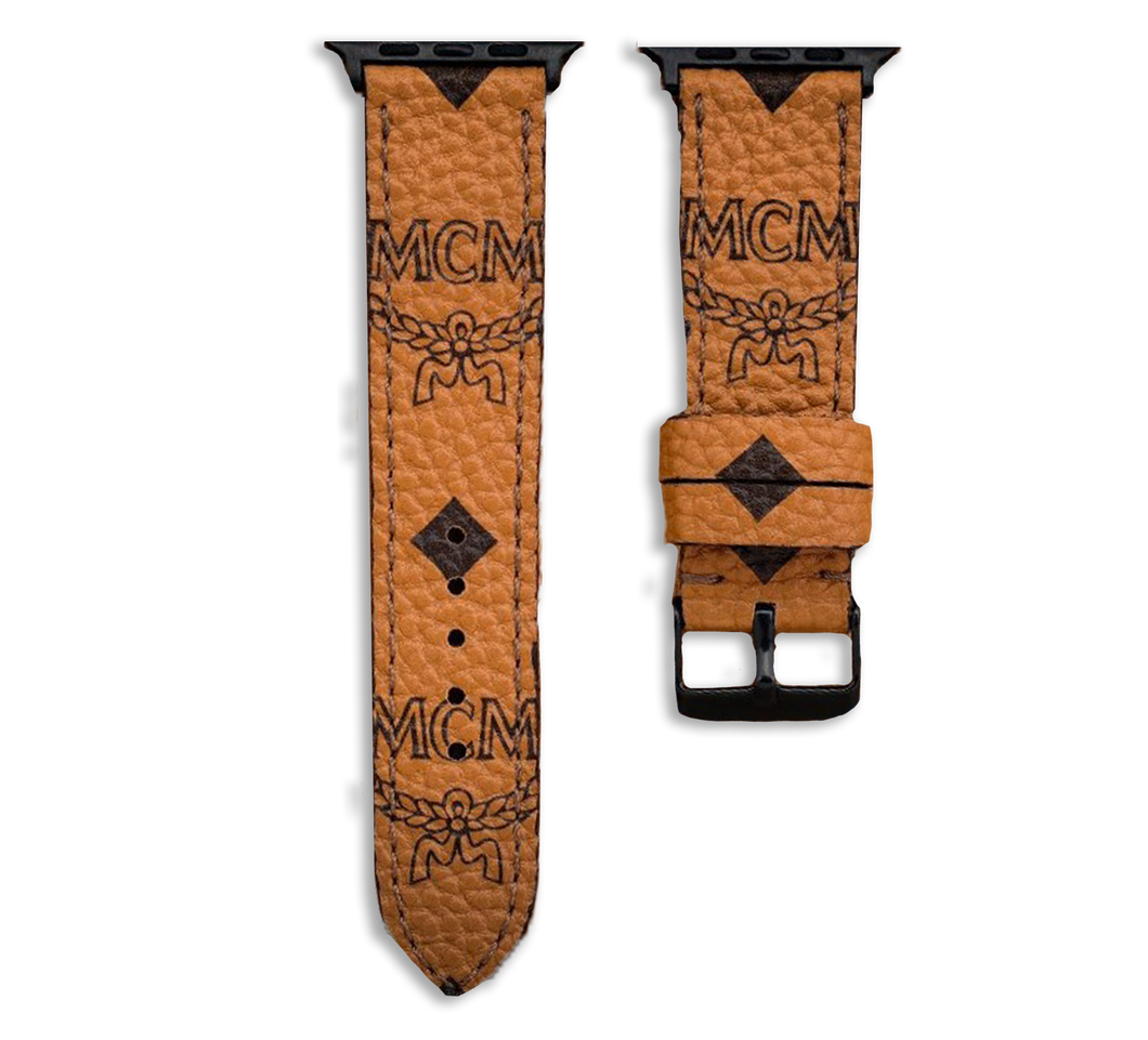 MCM Monogram Style Apple Watch Band Strap In Cognac Color