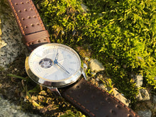 Morioka Automatic Leather | Automatic Dress Watch in Moss | Open Heart Dial | Outdoor Watch In Moss