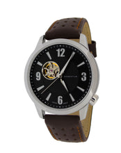 Morioka Automatic Leather | Automatic Dress Watch | Open Heart Dial | Black Dial With Brown Leather Band