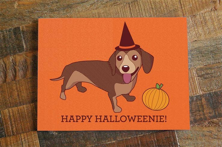 Happy Halloweenie Dachshund Halloween Card